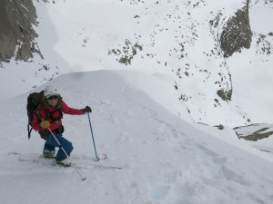 Looking down the Y couloir!
