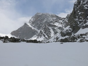 Looking at the Y couloir on Temple Peak.